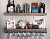 "36"" (LONG) Rustic Wood Wine Rack | Shelf & Hanging Stemware Glass Holder Organizer Bar Shelf Floating Ledge Unique (Grey)"