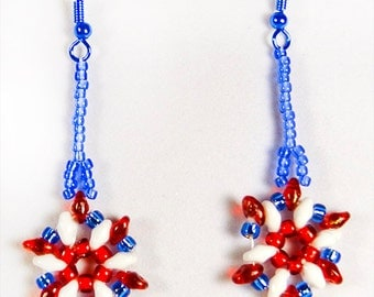 4th of July earrings, Memorial Day, Flag Day, red white blue earrings, patriotic earrings, patriotic jewelry, beaded earrings,