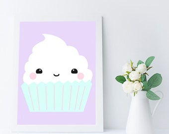 Cupcake Room Decor - Kitchen Print - Cupcake Print - Kitchen Wall Art - Kawaii Cupcake Printable - Kitchen Wall Print - Food Art
