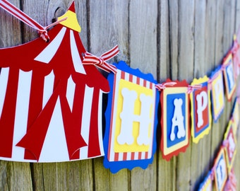 Circus Birthday Banner in Blue, Red and Yellow - Big Top Birthday Party - Happy Birthday Banner - Circus Birthday Party