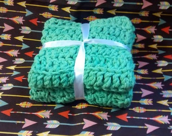 Crocheted Wash Cloths / Dish Cloths Set of 2 Natural Scrubbing wash cloths