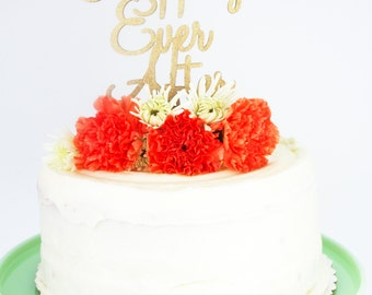 Happily Ever After - Gold Glitter Cake Topper