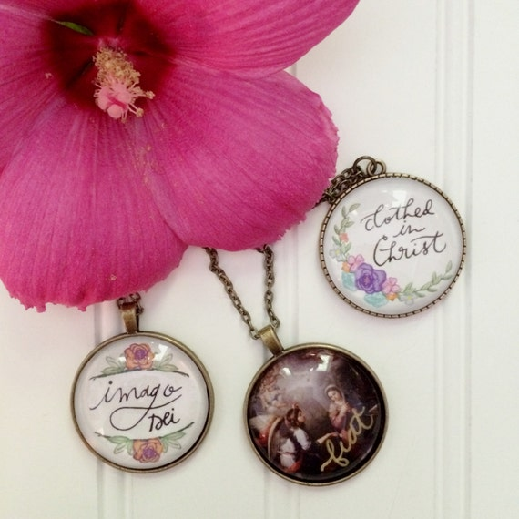 """24"""" Pendant Necklaces * Hand-lettered * Catholic Christian Jewelry * Fiat * Clothed in Christ * Imago Dei * Floral"""