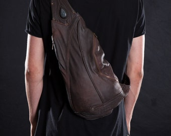 MERCURIC SLING BAG - Accessories, Backpack with Single Strap, Brown Leather - littleKINGDesigns