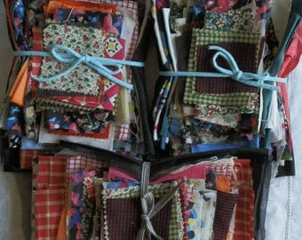 Bundle of Vintage Material Pieces / Scraps - Mixed Fabrics Approx. 210g / 8oz Each Lot