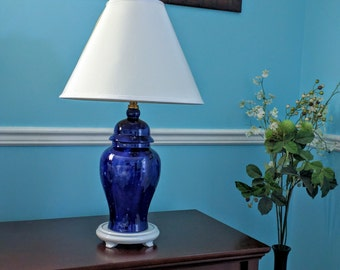 Table lamp, glass lamp, accent lamp,  blue lamp, vase lamp, vintage lamp, bedside lamp, bedroom lamp, blue glass lamp, romantic decor