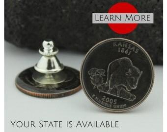 Kansas Lapel Pin - A unique handmade Bison/Buffalo lapel pin using the Kansas State Quarter.  A perfect tie tack, lapel or hat pin