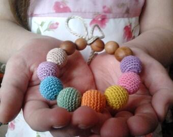 Nursing Bracelet.Breastfeeding.Nursing.Teething.Bright.Organic cotton.Wood and applewood.Natural bracelet.Bio Wood.