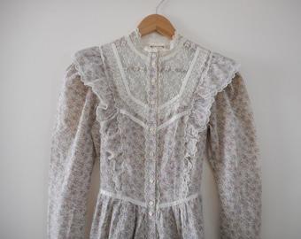 Vintage 70s Gunne Sax Prairie Dress - Size 9