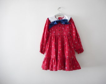 Vintage Long Sleeve Girls Dress - Size 5 (t)