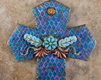 Mosaic Wall Decor - Home Decor - Housewarming Gift -Wall Cross- Fleur De Lis - Religious Decor - Mosaic Wall Cross - Inspirational Wall Art