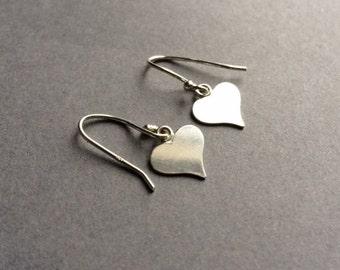 Heart Earrings, Silver Heart Earrings, Boho Earrings, Birthday Gift, Drop Earrings,,Mothers Day Gift