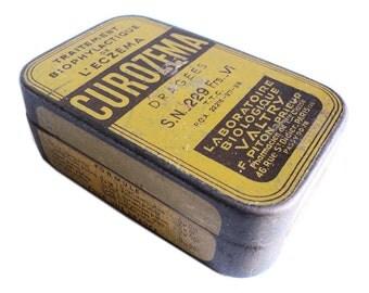 French Medicine Pills Tin, Curozema, Yellow Tin Box, Metallic Drug Box collectible