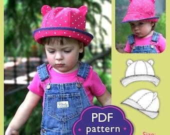 Kids Sun Bear Hat PDF Sewing Patterns/ Baby Toddler 12m to 3 years/ Summer Hat with Brim/ Download pattern/ DIY clothing