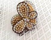 Hart crystal Ring, Big hart  Pearl Ring, crystal ring