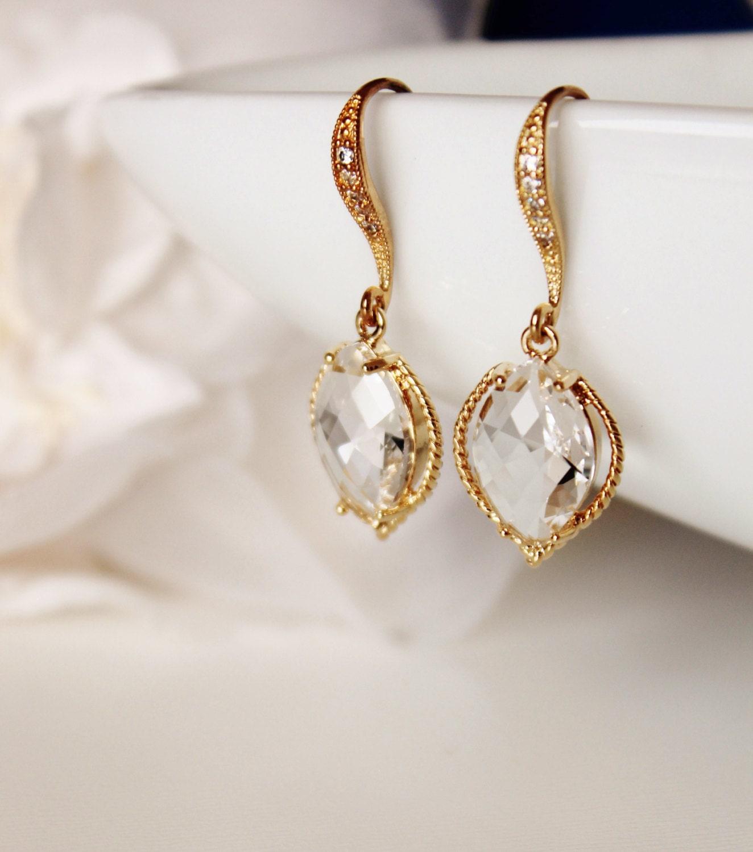 gold leaf earrings bridesmaid gift by dreamislandjewellery