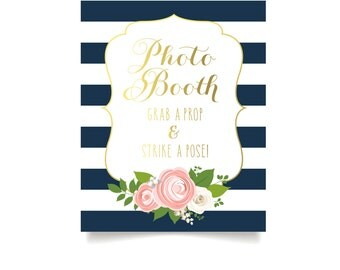 The KELLY . Photo Booth Guestbook Wedding Sign . Navy Stripes Gold Calligraphy White Roses Blush Peony Ranunculus . Heavy Paper Print or PDF