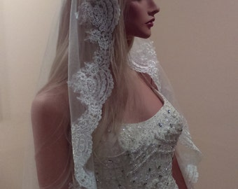Waltz Mantilla Veil With Comb White or Ivory
