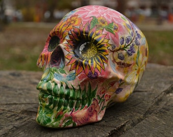 Unique Handmade Handpainted Flower Floral Ceramic Day of the Dead Mexico Mexican Folk Art Colorful Love Sugar Skull MADE TO ORDER