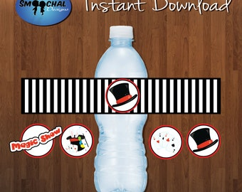 Magic/Magician Water Bottle Labels -- Custom Party Supplies -- Instant Download