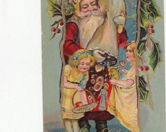 Merry Christmas Fantasy Antique Santa Claus-Children-C1910-Embossed-Gold Trim-Postcard