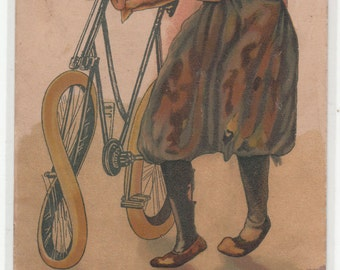 Unusual Sultry Art Nouveau Woman With Her Bicycle Postcard German Issue 1900-10 Great Rendering