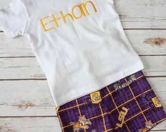 Purple and Gold Short Set,  Monogrammed Short Set, Football Fan Short Set