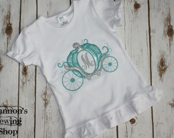 Glitter Carraige Shirt with One letter Monogram