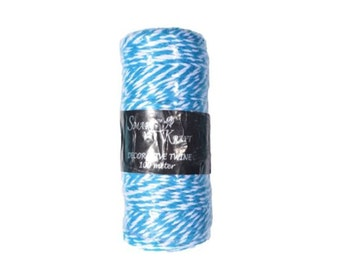 100m Aqua Blue / White Coloured Bakers Twine on Spool 1.5mm Thick - CR6007