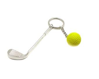 Golf Keychain, Golf Key Ring, Sports Keychain, Golf Gift, Golf Club Keychain, Golf Club And Ball Keychain, Sports Gift, Golfing Keychain