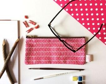 Pink, Pencil Case, Chevron, Pencil Pouch, Small Bag, Pouch, Zipper Pouch, Bag, Cosmetic, pencil bag, cute pencil case, organiser, storage,