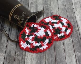 Cotton Dishcloth - Set of 2 - Christmas Dishcloth - Cotton Washcloth - Cleaning Dishcloth - Crochet Dishcloth - Cleaning Cloth - Christmas