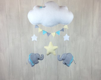 Baby mobile - elephant mobile - cloud mobile - baby crib mobile - star mobile - elephant nursery decor