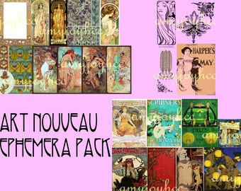 Art Nouveau  Ephemera Pack  Digital Collage Sheet - Mucha Print  Digital Paper  Clipart  Clip Art  Alfons Mucha  Alphonse Mucha
