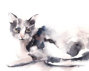 Cat Watercolor Print, Cat Watercolor Painting Art Print, Cat Wall Art