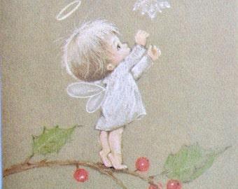 Vintage Christmas Card  - Hallmark Christmas Baby Angel and Snowflake - Used