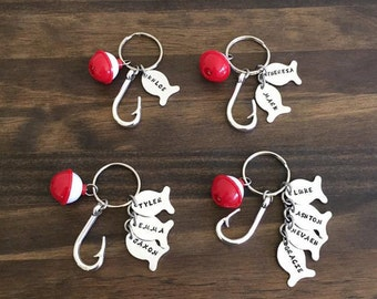 Fish Bobber Hook & Hand Stamped Fish Keychain