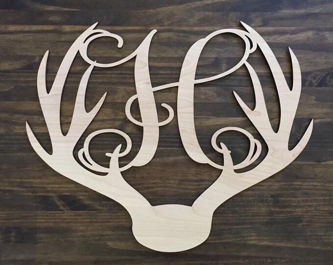 "18"" Wood Deer Antler Monogram Initial Laser Cutout Shape Unfinished"