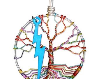 Stardust Tree of Life Pendant, David Bowie Tree Pendant, Ziggy Stardust, Lightning Bolt Tree Pendant