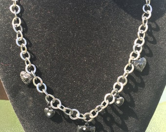 Black Chain and Heart Charm Necklace