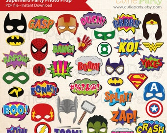Superhero Theme Party Booth Prop, Printable Superhero party Photo Booth Prop, Retro Superhero Speech Bubbles - 40 ready to print images