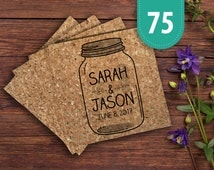 Save the Date Mason Jar Cork Coaster - Pack of 75 | Mason Jar Theme Wedding | Save The Date Mason Jar