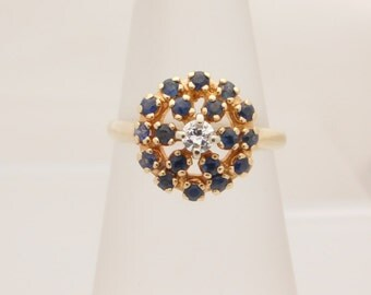 Ladies Blue Sapphire & Diamond Ring 14K