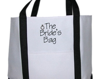 The Bride's Bag, Bridal Tote Bag, Bridal Shower Gift Idea, Bride Gift Idea, Mrs tote bag, wedding tote bag, wedding carryall tote, gift bag