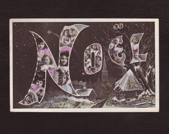 Christmas, French art nouveau postcard - Hand tinted, big letter Noël, edwardian antique postcard, vintage greeting card - 1905 (V7-08)