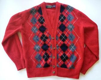 Vintage 1970s Red Argyle Shetland Wool Cardigan England