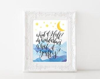 Printable Art What if you Fly, Nursery Art, Watercolor Mountains, 8x10 PDF JPEG - Gender Neutral Nursery Art- Kids roomRoom Decor