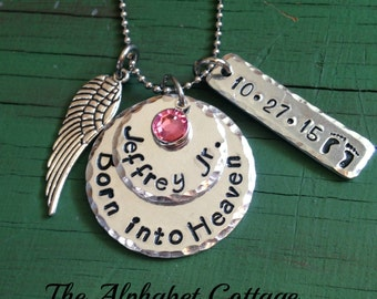 Born into Heaven Baby Remembrance Necklace-Infant Loss Jewelry-Miscarriage and Stillbirth-Gift for Grieving Parent-Angel Baby-Sympathy Gift