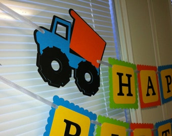 Construction Happy Birthday banner, Dump truck birthday banner, Dump truck party, construction party, truck banner