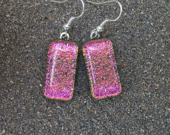 Pink with Light Green Accents Dichroic Fused Glass Dangle Earrings